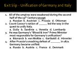 exit slip unification of germany and italy