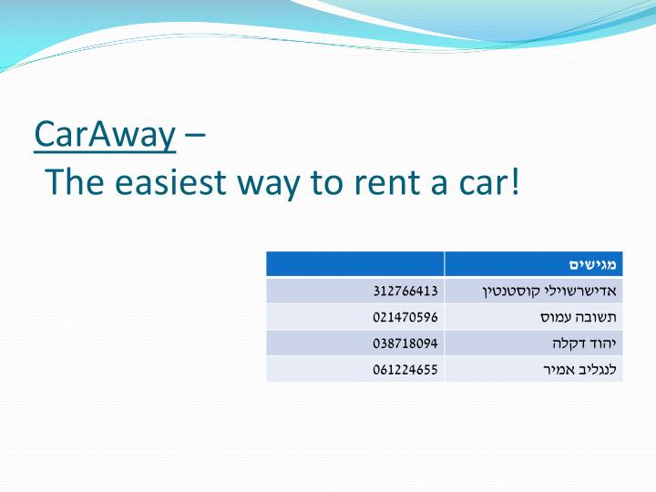 caraway the easiest way to rent a car n.