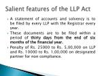 s alient features of the llp act3