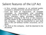 s alient features of the llp act7