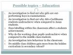 possible topics education