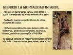 reducir la mortalidad infantil