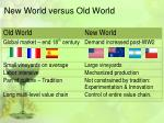 new world versus old world