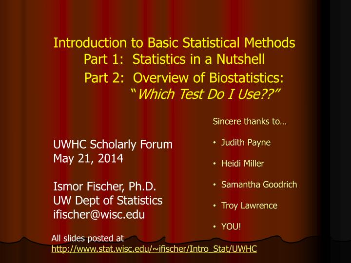 Introduction to Basic Statistical Methods