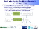 fault injection for resilience research llnl and lbnl