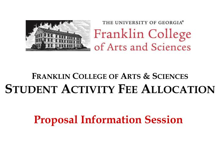 franklin college of arts sciences student activity fee allocation n.