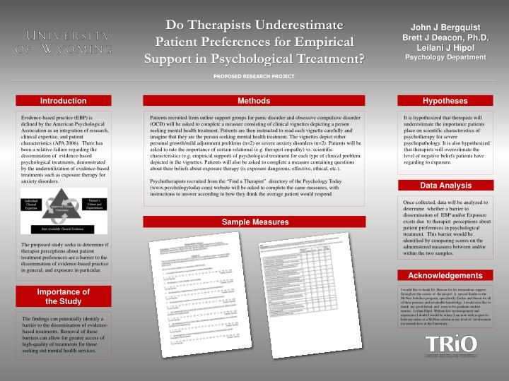 do therapists underestimate patient preferences for empirical support in psychological treatment n.