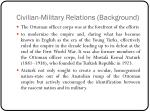 civilian military relations background