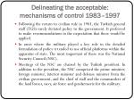 delineating the acceptable mechanisms of control 1983 1997