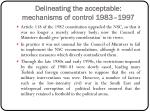 delineating the acceptable mechanisms of control 1983 19972