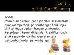 cont health care planning