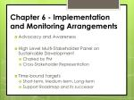 chapter 6 implementation and monitoring arrangements