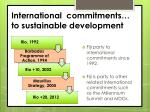 international commitments to sustainable development