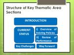 structure of key thematic area sections