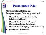 perancangan data