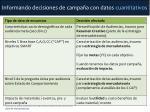 informando decisiones de campa a con datos cuantitativos