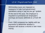 lo 1 payroll and form 1040