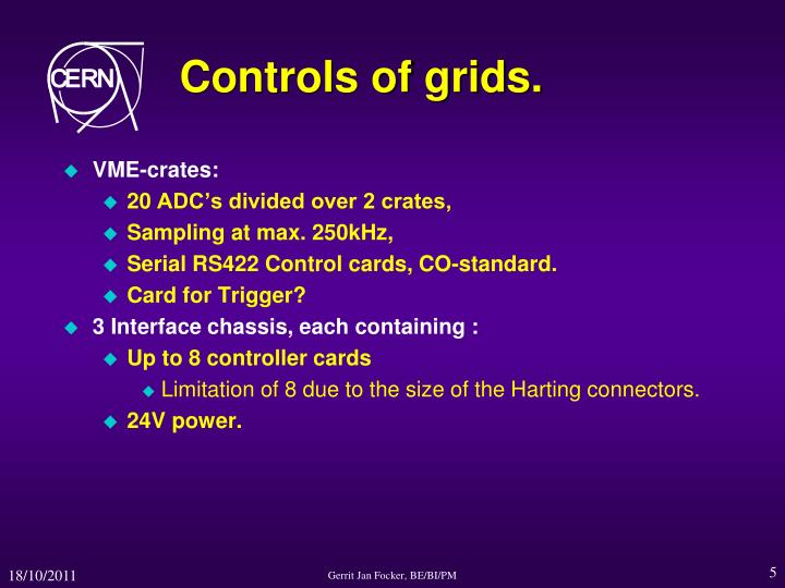 Controls of grids.