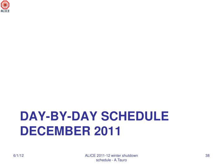 Day-by-day schedule