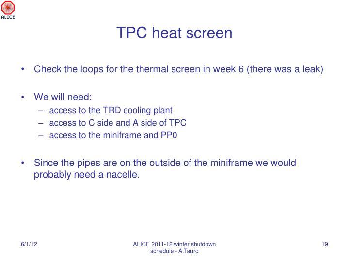 TPC heat screen