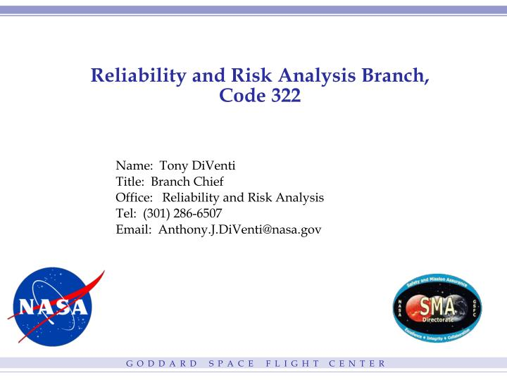 reliability and risk analysis branch code 322 n.