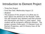 introduction to element project
