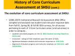 history of core curriculum assessment at shsu cont