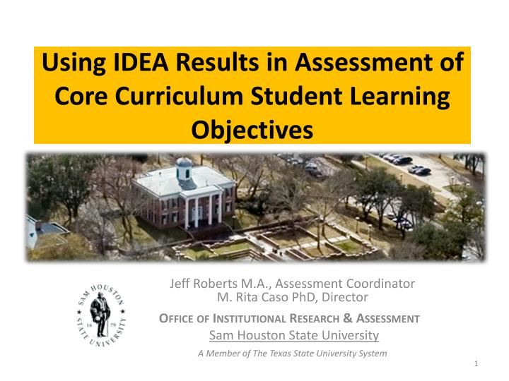 using idea results in assessment of core curriculum student learning objectives n.