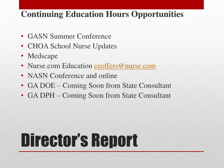 Continuing Education Hours Opportunities
