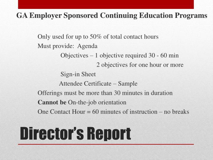 GA Employer Sponsored Continuing Education Programs