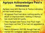 agrippa acknowledges paul s innocence
