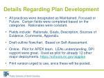 details regarding plan development