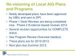 re visioning of local aig plans and programs