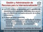 gesti n y administraci n de recursos para la internacionalizaci n