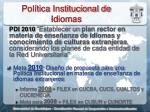 pol tica institucional de idiomas