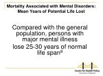 mortality associated with mental disorders mean years of potential life lost