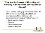 what are the causes of morbidity and mortality in people with serious mental illness