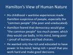 hamilton s view of human nature
