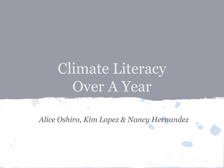 climate literacy over a year
