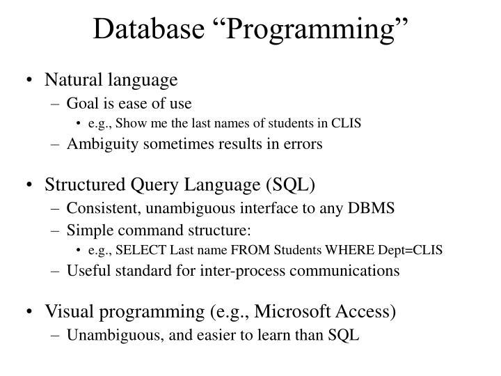 "Database ""Programming"""