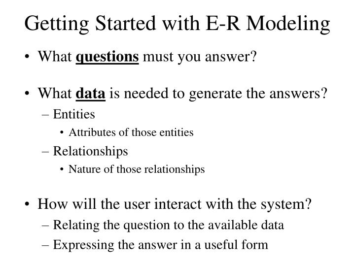Getting Started with E-R Modeling
