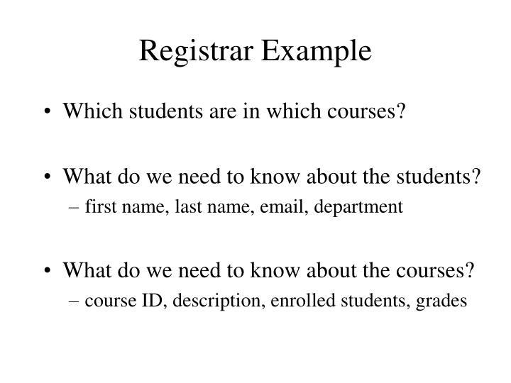 Registrar Example