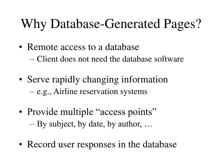 Why Database-Generated Pages?