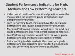 student performance indicators for high medium and low performing teachers1