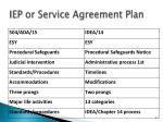iep or service agreement plan