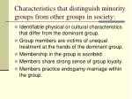 characteristics that distinguish minority groups from other groups in society