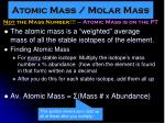 atomic mass molar mass