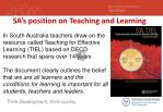 sa s position on teaching and learning