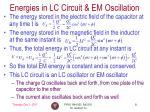energies in lc circuit em oscillation
