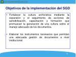 objetivos de la implementaci n del sgd